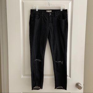 Free People Black Cropped Skinny Distressed Jeans